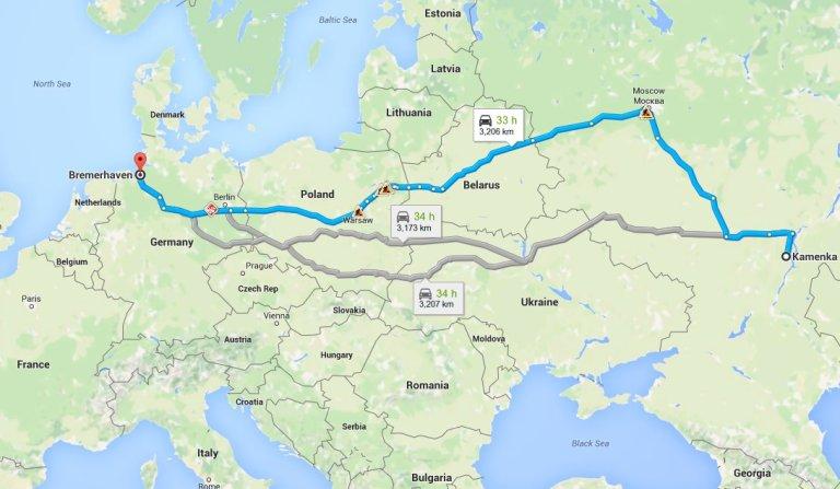 Kamenka - Bremerhaven Die Reise vom Herrn Fischer.  Leider wollte Google Maps bei dieser Route nicht mitmachen.